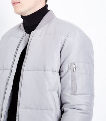Pale Grey Puffer Bomber Jacket New Look