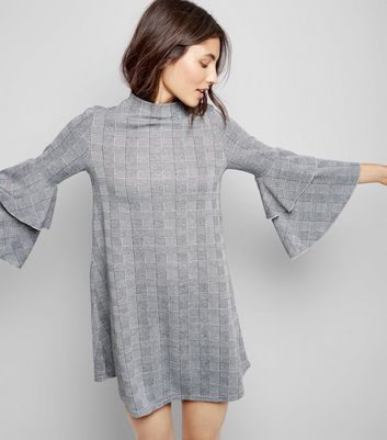 Black Check Ruffle Sleeve Dress New Look