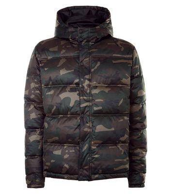 Khaki Camo Padded Puffer Jacket New Look