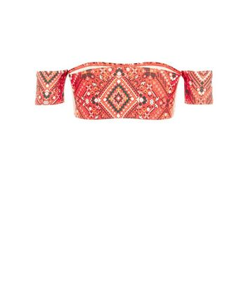 Red Aztec Print Bardot Bikini Top New Look
