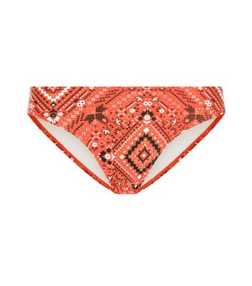 Red Aztec Print Bardot Bikini Bottoms New Look