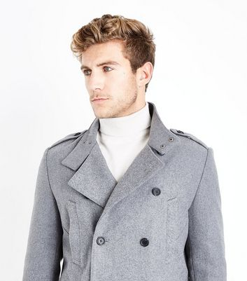 Grey Military Coat New Look