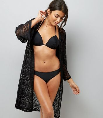 Black Sheer Crochet Longline Kimono New Look