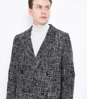 Black Textured Overcoat New Look