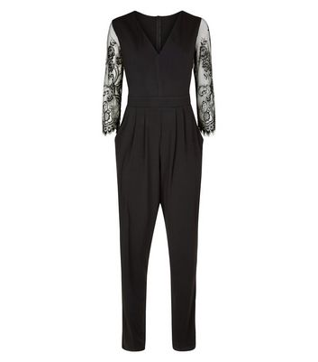Mela Black Eyelash Lace Sleeve Jumpsuit New Look