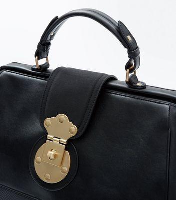Black Contrast Handle Doctors Bag New Look
