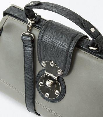 Dark Grey Contrast Handle Doctors Bag New Look