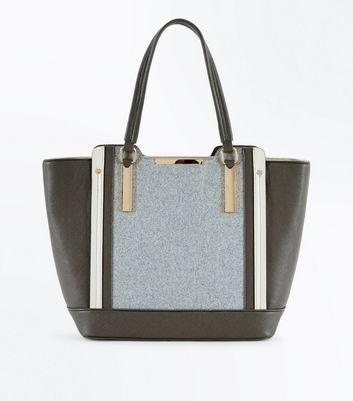Grey Felt Panel Tote Bag New Look