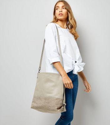 Grey Stud Panel Zip Side Shoulder Bag New Look