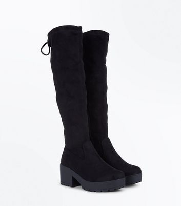 Teens Black Suedette Chunky Knee High Boots New Look