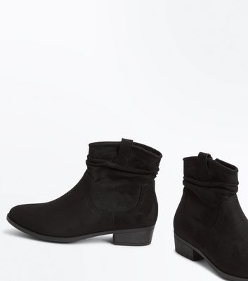 Teens Suedette Slouch Western Boots New Look