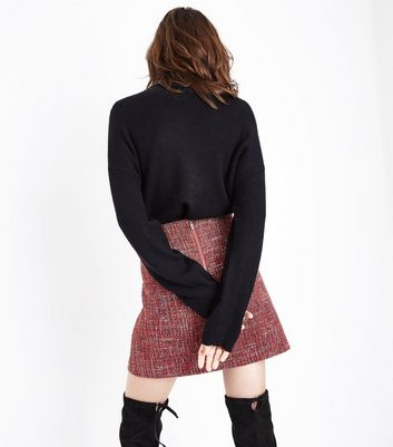 Red Boucle Mini Skirt New Look