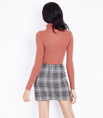 Light Grey Glitter Check Mini Skirt New Look