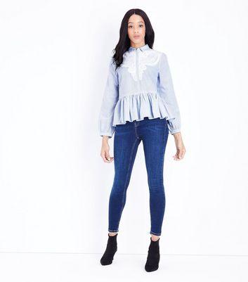 Blue Stripe Lace Front Peplum Hem Shirt New Look
