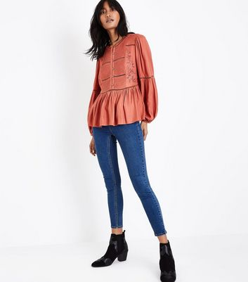 Rust Embroidered Crochet Trim Top New Look