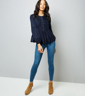Navy Floral Embroidered Ladder Trim Blouse New Look