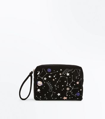 Black Cosmic Embroidered Purse New Look