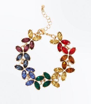 Gold Rainbow Gem Embellished Bracelet New Look