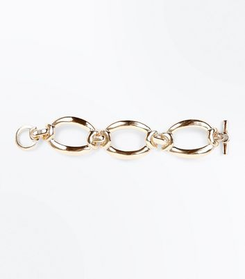 Gold Oval Chain Link Bracelet New Look
