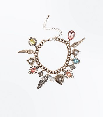 Gold Gem Charm Bracelet New Look
