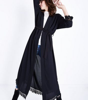 Mela Black Lace Trim Kimono New Look