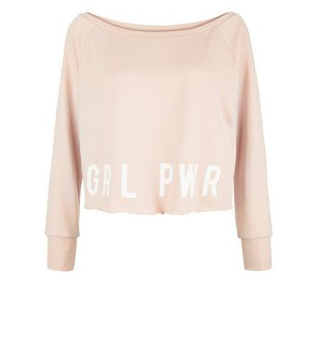 Shell Pink Grl Pwr Print Sports Sweatshirt New Look