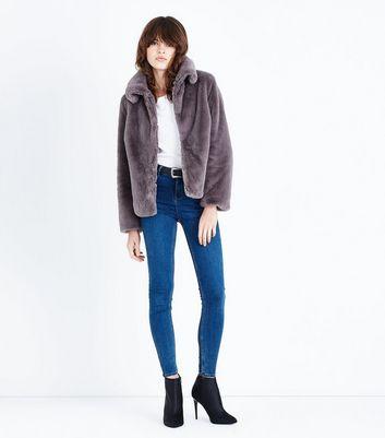 Grey Short Faux Fur Coat New Look
