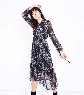 Black Floral Metallic Chiffon Midi Dress New Look