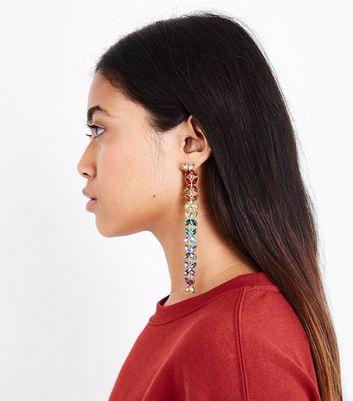 Gold Rainbow Gem Embellished Drop Earrings New Look