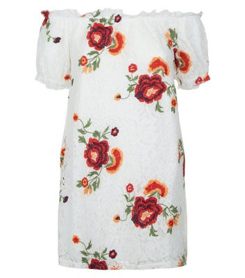 Petite Cream Lace Floral Embroidered Bardot Neck Dress New Look