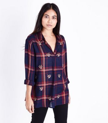 Petite Red Check Floral Embroidered Overhead Shirt New Look