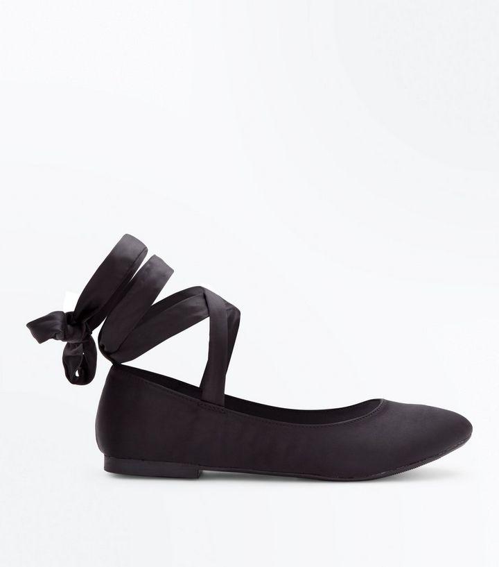 b4abcbe931 Black Satin Ribbon Ankle Tie Ballet Pumps | New Look