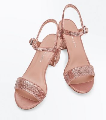 Teens Rose Gold Sequin Heeled Sandals New Look