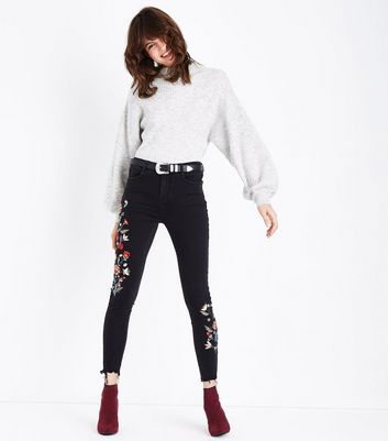 Black Floral Embroidered Fray Hem Skinny Jenna Jeans New Look