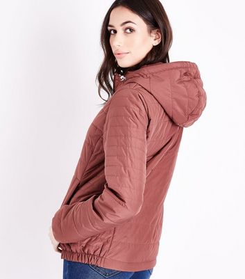 Deep Pink Hooded Puffer Jacket New Look