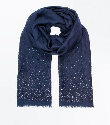 Navy Stud Embellished Scarf New Look