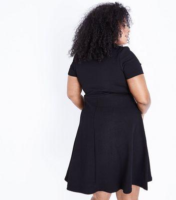 Black Sweetheart Waffle Texture Skater Dress New Look