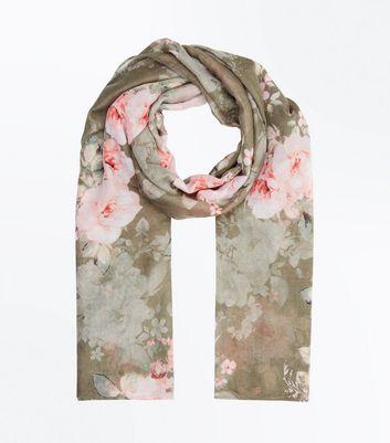Khaki Floral Print Scarf New Look