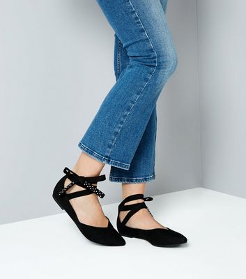 Black Studded Bow Pointed Flat Pumps New Look