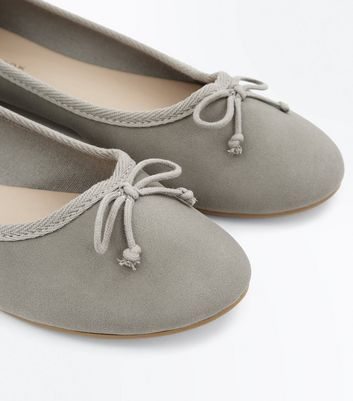 Grey Bow Front Ballet Pumps New Look
