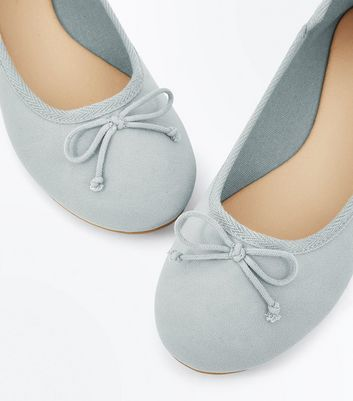 Mint Green Bow Front Ballet Pumps New Look