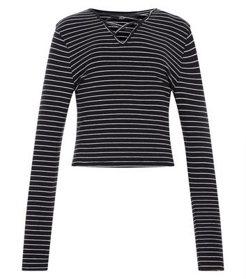 Teens Black Stripe Lattice Front Long Sleeve Top New Look