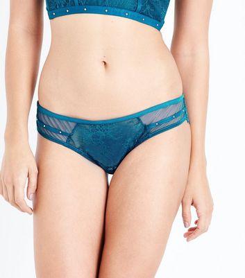 Teal Mesh Lace Trim Brazilian Briefs New Look