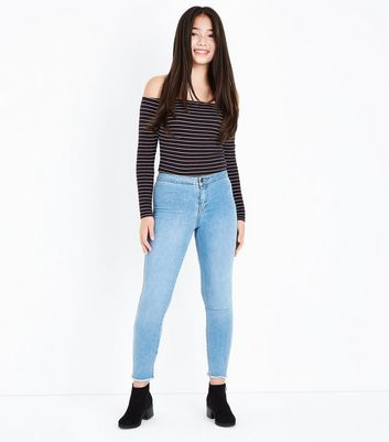 Teens Black Stripe Bardot Neck Top New Look