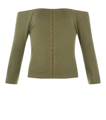 Teens Khaki Hook and Eye Bardot Neck Top New Look