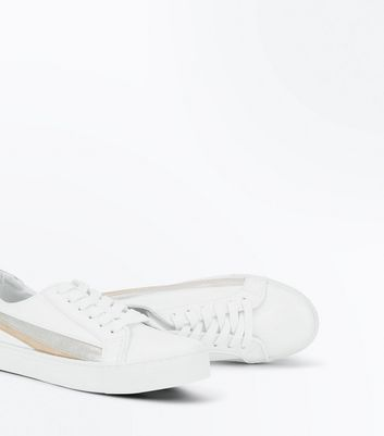 White Metallic Stripe Lace Up Trainers New Look