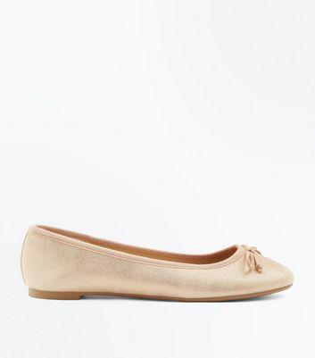 Rose Gold Shimmer Ballet Pumps New Look