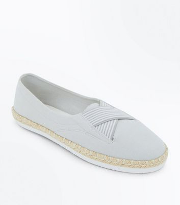 Grey Elasticated Cross Strap Espadrilles New Look