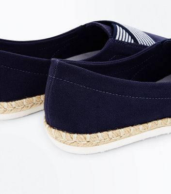 Navy Elasticated Cross Strap Espadrilles New Look