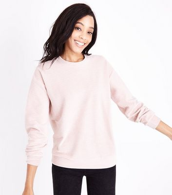 Shell Pink Ribbed Velour Sweatshirt New Look